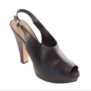 Vince Camuto brown peep toe sling backs